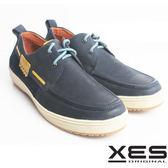 XES 男鞋 個性休閒 民族風 百搭橡膠底 真皮 休閒鞋 海洋藍