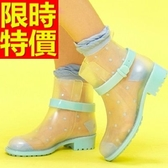雨靴-女雨具防水素雅防滑女短筒雨鞋3色54k33【時尚巴黎】