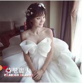 抹胸婚紗新娘結婚孕婦夏季蝴蝶結公主旅拍簡約緞面女  全店88折特惠