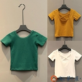 兒童短袖后背交叉性感露背短袖T恤寶寶棉質上衣夏裝【淘夢屋】