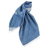 ARMANI COLLEZIONI  大Logo流蘇薄圍巾(藍色)102803