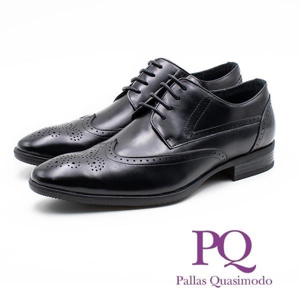 【南紡購物中心】PQ 真皮雕花壓紋造型綁帶皮鞋 男鞋 - 黑(另有棕)
