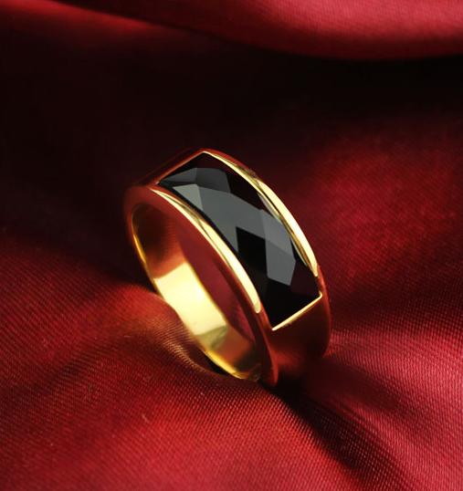 復古黑曜石轉運戒指 男士歐美時尚鈦鋼鍍金指環寶石戒子 禮物