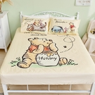 床包 / 雙人【維尼小熊-蜂蜜小事(黃色)】含兩件枕套 高密度磨毛 戀家小舖台灣製