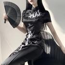 旗袍 新款暗黑中國風旗袍高開叉長款盤扣黑性感jk改良版龍紋修身連身裙 非凡小鋪