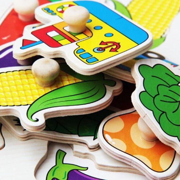 拼圖玩具 兒童手抓板拼圖 小男孩女孩1-2-3-4歲益智力寶寶早教木制積木玩具  coco衣巷