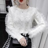新品特價 秋冬新款時尚超仙網紗拼接針織衫毛衣女寬松外穿套頭打底上衣