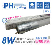 PHILIPS飛利浦 易省 LED T8 8W 3000K 黃光 全電壓 單邊入電 玻璃管 _ PH520313