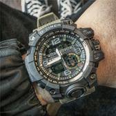 潮男防水電子錶雙顯多功能跑步運動計時手錶男士軍錶大錶盤夜光錶 年終尾牙【快速出貨】