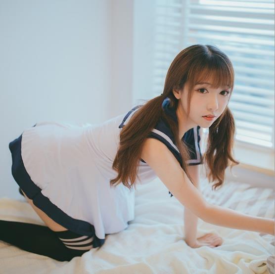 【愛愛雲端】藍白無袖甜美系水手領學生制服 角色扮演 水手服 學生服