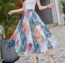 夏季新款雪紡印花高腰大擺半身裙(十色可選)