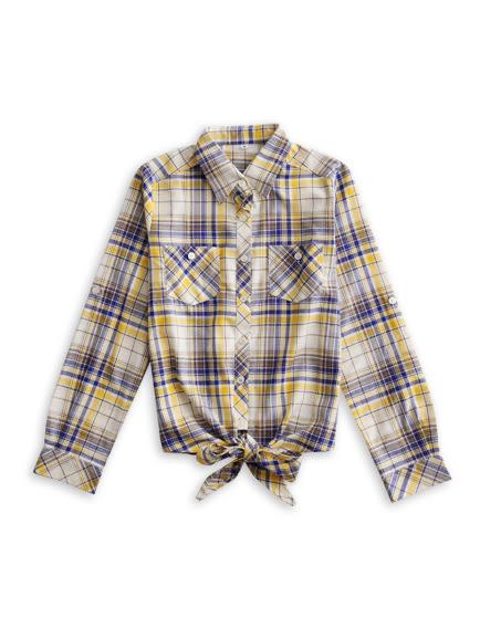 BOBSON 女款下擺綁結式襯衫(黃34133-30)
