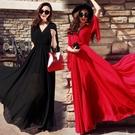 雪紡洋裝 女夏氣質正韓顯瘦雪紡超長款紅色沙灘裙子長裙連身裙飄逸-Ballet朵朵