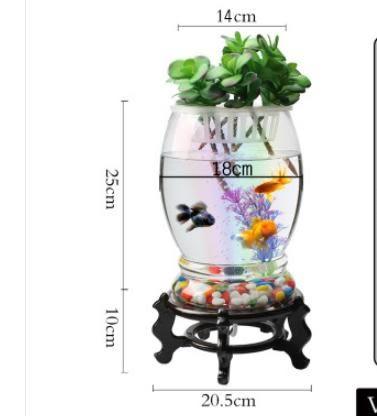 流水擺件 金魚缸圓形客廳辦公桌面小型迷你創意生態水族箱家用水培玻璃魚缸 名創