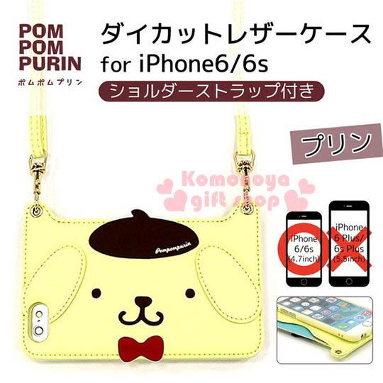 〔小禮堂〕布丁狗 iPhone6 軟式裝飾殼《黃.大臉.附背帶》後可放一張卡片4982416-72528