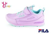 FILA 運動鞋 女童 中大童 皮面防潑水 慢跑鞋 O7637#紫色◆OSOME奧森童鞋