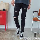【OBIYUAN】牛仔褲 單寧休閒褲 素色 刀割 刷破 彈性  長褲 共1色【X8806】