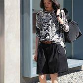 五分袖針織衫 chic印花襯衫 寬鬆休閒上衣/2色-夢想家-Z1920-0612