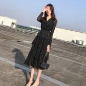秋冬氣質絲絨2019春裝性感禮服黑色V領很仙的連身裙長裙 伊蒂斯女裝