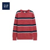 Gap男童舒適條紋圓領長袖針織衫495636-紅色
