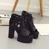歐美夜店dj酒吧女歌手ds演出鞋子交叉帶13cm粗跟超高跟防水臺涼鞋