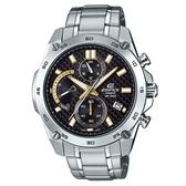 【CASIO】 EDIFICE 編織感黑色格紋錶盤賽車錶-黑面X金X銀圈(EFR-557CD-1A9)