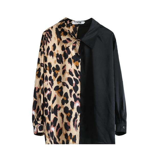 (現貨+預購FUWAFUWA)-加大尺碼豹紋拼接長袖雪紡上衣