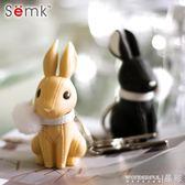 鑰匙圈 semk鑰匙扣小兔子女韓國可愛鑰匙鍊高檔汽車鑰匙掛件書包背包掛飾 晶彩生活