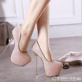 新上市19cm超高跟鞋超細跟性感夜店亮片單鞋女16cm/18cm/20cm/22 圖拉斯3C百貨
