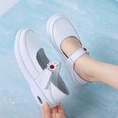 工作鞋 護士鞋女軟底透氣不累腳夏季白色坡跟可愛防滑真皮鏤空輕便氣墊底 瑪麗蘇