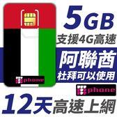 阿聯酋 12天 5GB高速上網 支援4G高速 (杜拜可以使用)