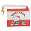 Sanrio HELLO KITTY合成皮革票卡夾附電話線圈式伸縮拉繩(復古棒球)★funbox★_22202