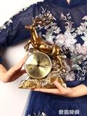 歐式座鐘擺件招財鹿鐘錶創意復古擺鐘客廳新中式藝術裝飾擺件台鐘『蜜桃時尚』