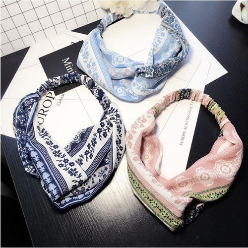 民族風 波西米亞 交叉 布藝 髮帶 韓版 韓國 髮飾 頭帶 氣質 復古 幾何 異國情調 造型