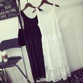 春秋內搭蕾絲拼接打底裙中長款寬鬆大碼無袖內襯裙吊帶背心連衣裙 巴黎時尚