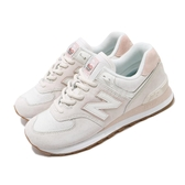 New Balance 休閒鞋 574 NB 米白 粉紅 女鞋 麂皮鞋面 復古慢跑鞋 運動鞋【PUMP306】 WL574SAYB