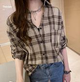 特賣款不退換大尺碼襯衫襯衣M-4XL/32390韓版氣質長袖格子襯衫女寬松設計感上衣休閑襯衣外套