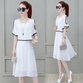洋裝-雪紡連身裙女裝夏裝新款遮肚子顯瘦藏肉減齡冷淡風裙子 Korea時尚記