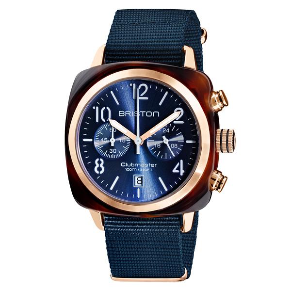 BRISTON CLUBMASTER 經典雙眼計時腕錶-海軍藍