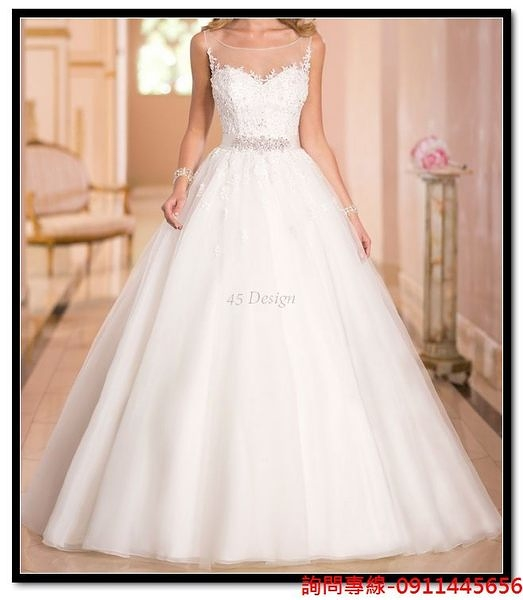 (45 Design) 客製化7天到貨   新款婚紗禮服新娘結婚雙肩複古蕾絲一字肩拖尾綁帶婚紗可定制