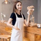 白色圍裙廚房工作服韓版時尚定制印LOGO做飯廚房純棉廚師圍腰  居家物語