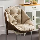 一體椅墊坐墊靠墊一體護腰座墊加厚毛絨辦公室學生籐椅餐椅子電腦靠背椅墊