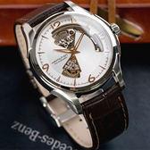 HAMILTON 漢米爾頓 JAZZMASTER 經典鏤空黑皮革機械腕錶/銀白 H32565555 熱賣中!