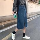MG 牛仔長裙-春季高腰半身裙女學生韓版百搭開叉A字牛仔裙包臀中長裙