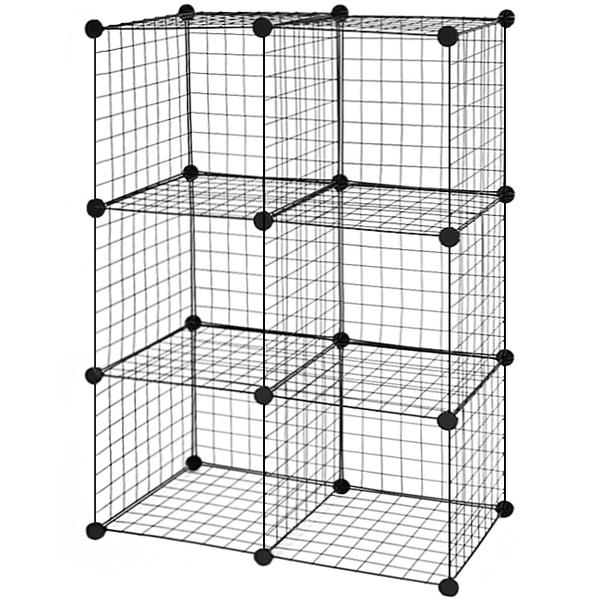工業風鐵網格六格收納櫃(送隔板)可掛牆DIY魔片.簡易組裝收納架.百變組合櫃組合架子6格置物櫃