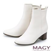 MAGY 質感素面真皮粗中跟 女 短靴 米白