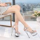 鋼管舞 恨天高高跟鞋女涼鞋模特細跟15CM厚底防水台夜店T台走秀鞋 格蘭小鋪