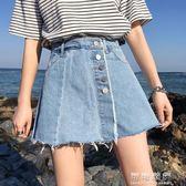 假兩件牛仔短裙褲女韓國單排扣高腰顯瘦寬管短褲學生熱褲 流行花園