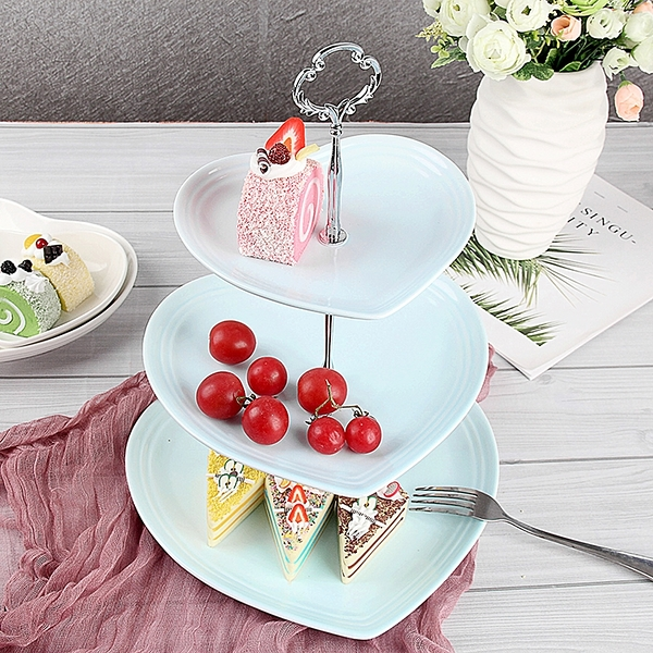 降價兩天 瓷江湖歐式陶瓷三層水果盤甜品台多層蛋糕架干果盤茶點心生日托盤