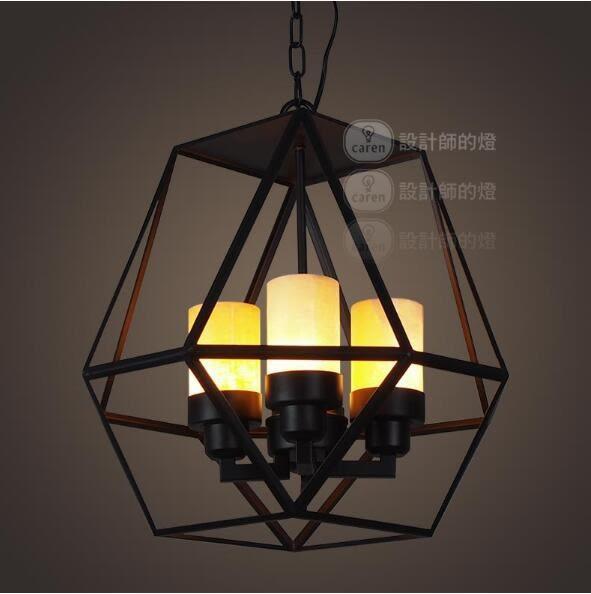 美術燈 美式複古創意餐廳酒吧咖啡廳地中海風鐵藝四燈雲石吊燈   - 不含光源